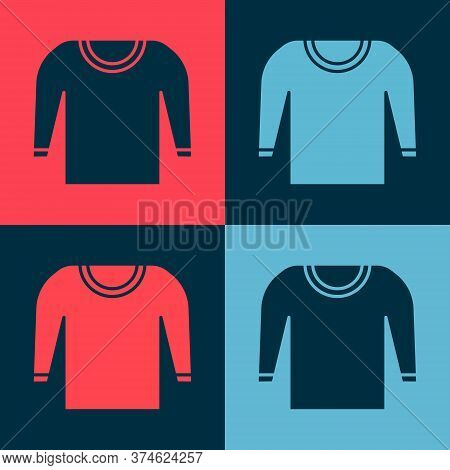Pop Art Sweater Icon Isolated On Color Background. Pullover Icon. Vector Illustration