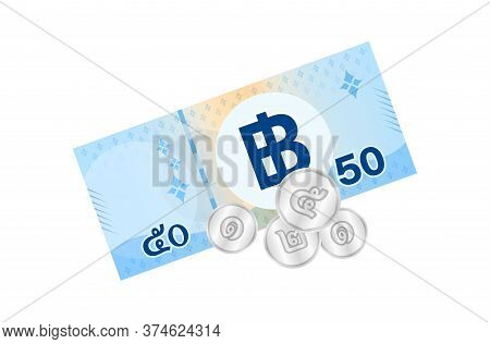 59 Baht Thai Banknote Money, Thai Currency Fifty Nine Thb, Bank Note Money Thailand Baht For Busines