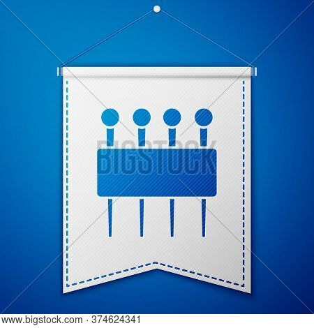 Blue Needle For Sewing Icon Isolated On Blue Background. Tailor Symbol. Textile Sew Up Craft Sign. E