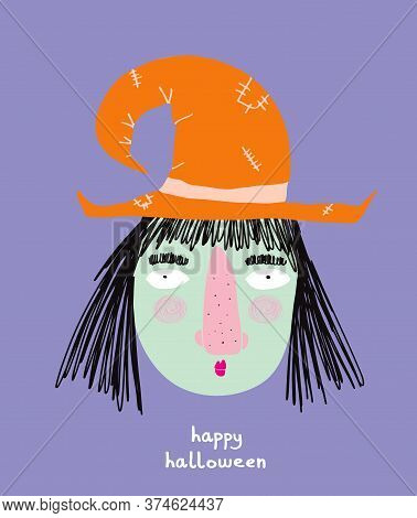 Cute Hand Drawn Halloween Card. Funny Witch Wearing Orange Hat And Black Hair On A Violet Background