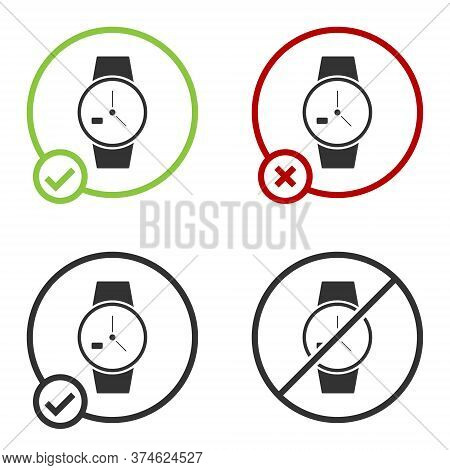 Black Wrist Watch Icon Isolated On White Background. Wristwatch Icon. Circle Button. Vector Illustra