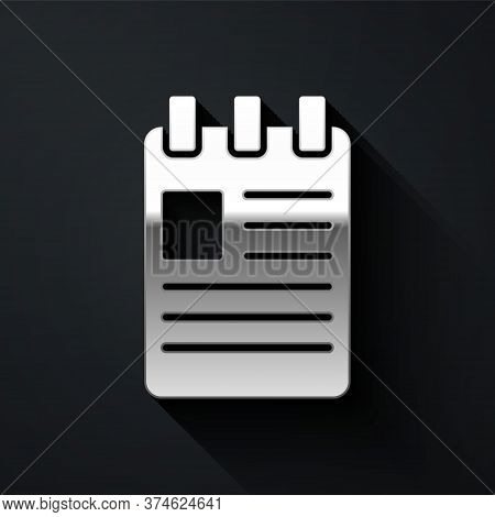 Silver Notebook Icon Isolated On Black Background. Spiral Notepad Icon. School Notebook. Writing Pad