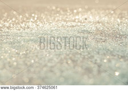Cullet, Background Of Glass Granules, Bokeh And Glitter