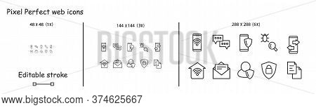 Mobile Technology Icons Set. Concept Line Pictograms For Wireless Connection Security Audit And User