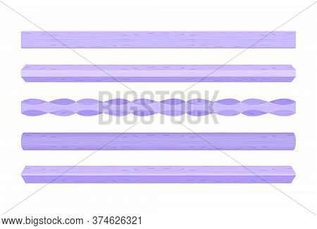 Wooden Vertical Lath Different Purple Pastel Soft Colors Isolated On White, Wooden Slat Poles Purple