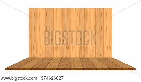Wooden Backdrop For Display And Copy Space, Panel Wood Plank Empty Front View, Wooden Brown For Deco