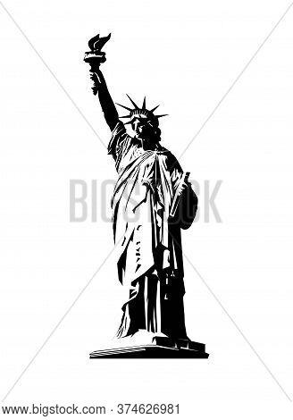 Vector Statue Of Liberty. New York Symbol.american Symbol Of Liberty. Emblem, Label, Logo Design