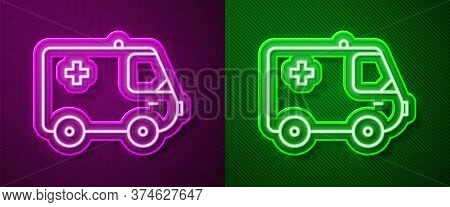 Glowing Neon Line Ambulance And Emergency Car Icon Isolated On Purple And Green Background. Ambulanc