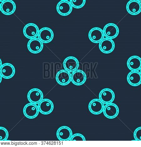 Green Line Wooden Barrels Icon Isolated Seamless Pattern On Blue Background. Alcohol Barrel, Drink C