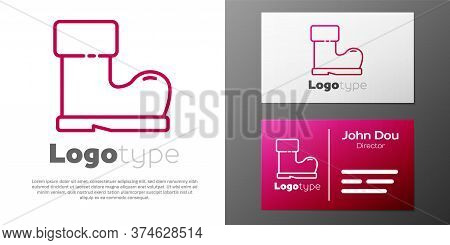 Logotype Line Waterproof Rubber Boot Icon Isolated On White Background. Gumboots For Rainy Weather,