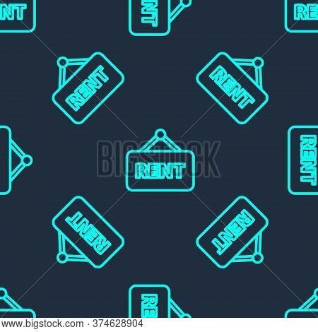 Green Line Hanging Sign With Text Rent Icon Isolated Seamless Pattern On Blue Background. Signboard