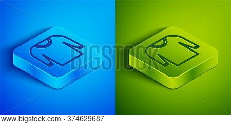Isometric Line Sweater Icon Isolated On Blue And Green Background. Pullover Icon. Square Button. Vec