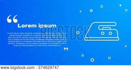 White Line Electric Iron Icon Isolated On Blue Background. Steam Iron. Vector Illustration