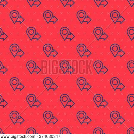 Blue Line Map Pin Icon Isolated Seamless Pattern On Red Background. Navigation, Pointer, Location, M