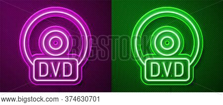 Glowing Neon Line Cd Or Dvd Disk Icon Isolated On Purple And Green Background. Compact Disc Sign. Ve