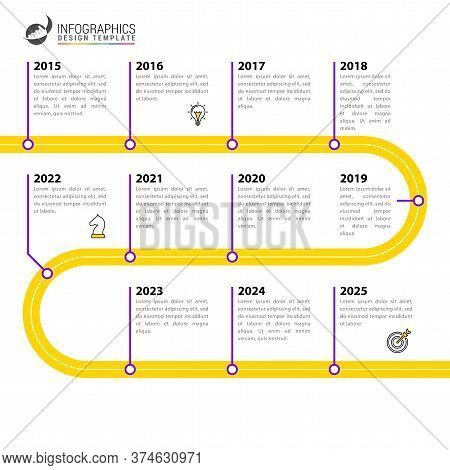 Infographic Design Template. Timeline Concept With 11 Steps. Can Be Used For Workflow Layout, Diagra