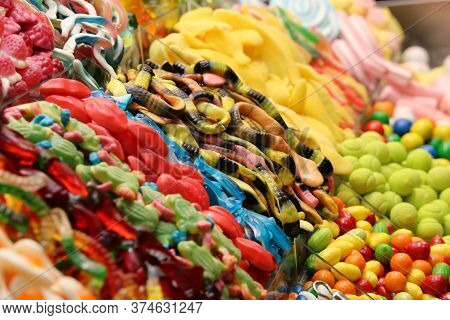 Assorted Candy In A Market, Barcelona, Spain.