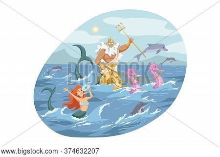 Mythology, Greece, Olympus, God, Neptune, Religion Concept. Ancient Greek Religious Myths Illustrati