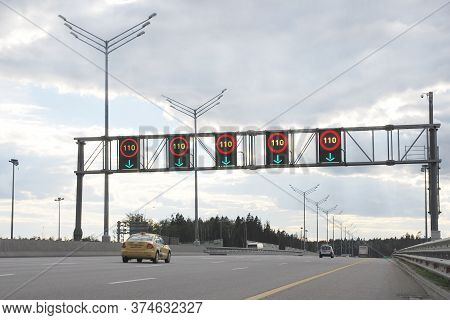 Moscow 25/06/2019 Information Board With Speed Limit Signs Up To 110 Km Per Hour Above Expressway La