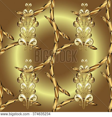 Floral Ornament Brocade Textile Pattern, Glass, Metal With Floral Pattern On Brown And Neutral Color