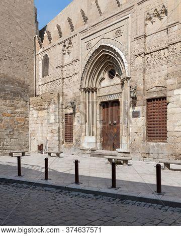 Cairo, Egypt- June 26 2020: Theological School And Mausoleum Of Sultan Qalawun, Mamluk Era Historic