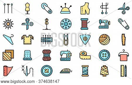 Tailor Icons Set. Outline Set Of Tailor Vector Icons Thin Line Color Flat On White