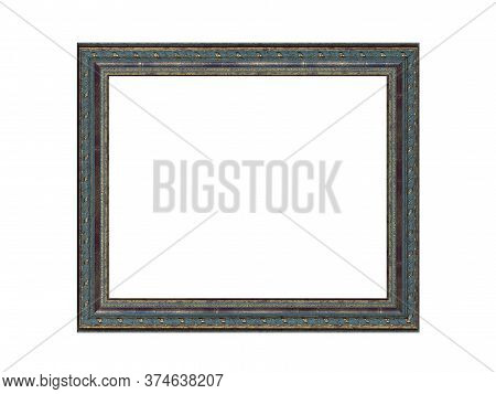 Old Empty Blue Wooden Frame For Paintings With Gold Patina. Isolated On White Background