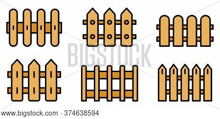 Fence Icons Set. Outline Set Of Fence Vector Icons Thin Line Color Flat On White