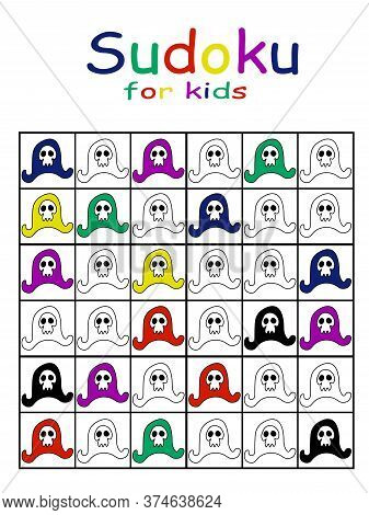 Sudoku Puzzle For Coloring Stock Vector Illustration. Pirate Hats With Skull For Children Pastime Ve