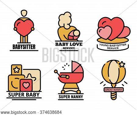 Modern Babysitter Logo Set. Outline Set Of Modern Babysitter Vector Logo Thin Line Color Flat On Whi