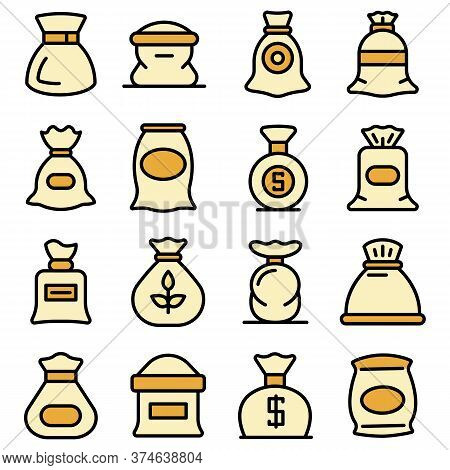 Sack Icons Set. Outline Set Of Sack Vector Icons Thin Line Color Flat On White