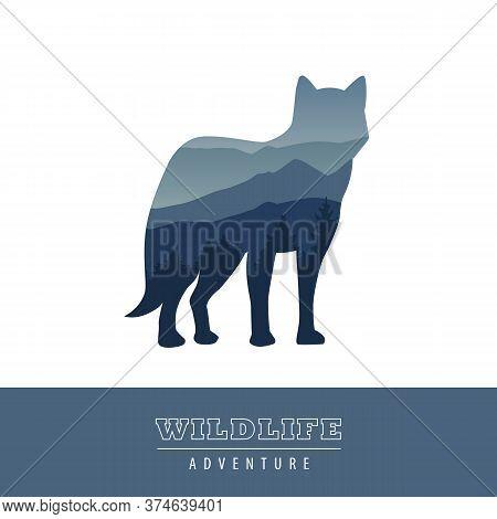 Wildlife Wolf Blue Forest Landscape Silhouette Vector Illustration Eps10