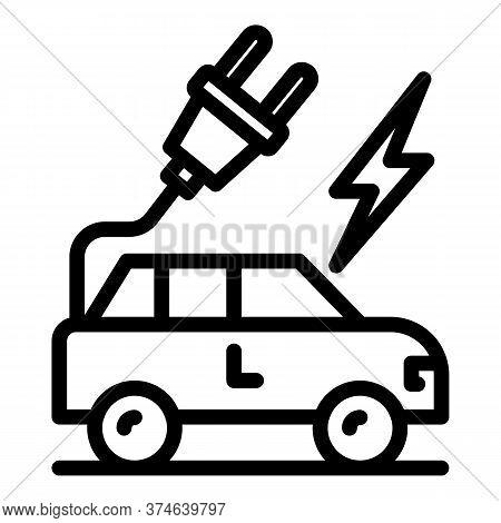 Hybrid Car Plug Icon. Outline Hybrid Car Plug Vector Icon For Web Design Isolated On White Backgroun