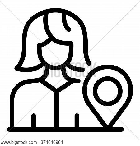 Tourism Manager Gps Pin Icon. Outline Tourism Manager Gps Pin Vector Icon For Web Design Isolated On