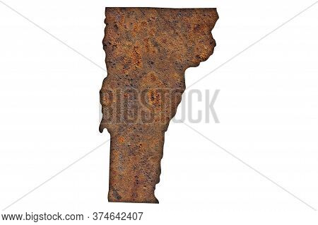 Detailed And Colorful Image Of Map Of Vermont On Rusty Metal