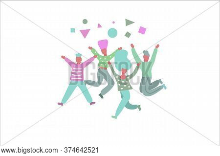 Friends Jumping, Doodles Cartoon Characters Girls And Boys Are Happy. Vector Illustration
