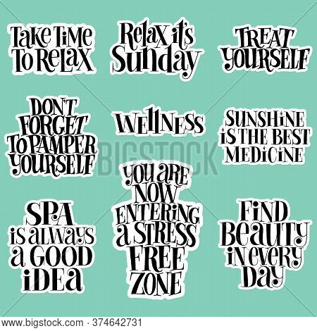 Spa Set. Hand-drawn Lettering Quote For Spa, Wellness Center, Wellbeing Concept. Typography For Merc