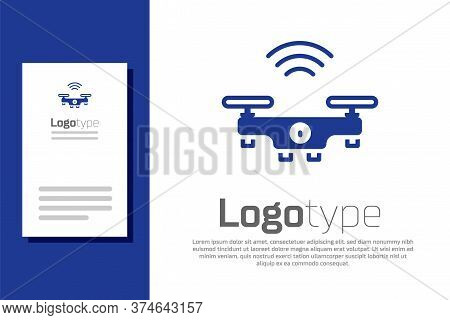 Blue Smart Drone System Icon Isolated On White Background. Quadrocopter With Video And Photo Camera