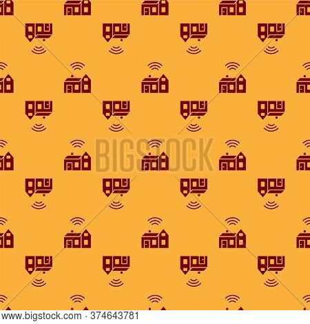 Red Smart Home With Wireless Icon Isolated Seamless Pattern On Brown Background. Remote Control. Int