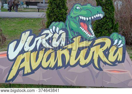Belgrade / Serbia - March 3, 2019: Jurassic Adventure Dinosaurs Themed Park In Belgrade Fortress Kal