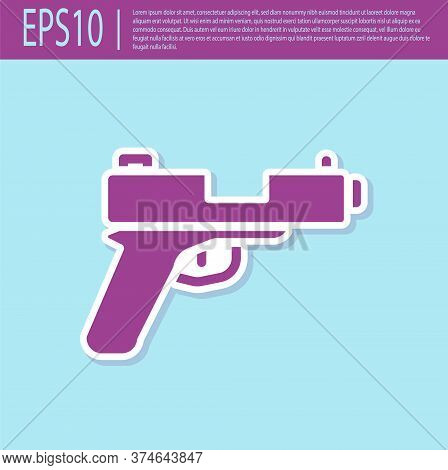 Retro Purple Pistol Or Gun Icon Isolated On Turquoise Background. Police Or Military Handgun. Small