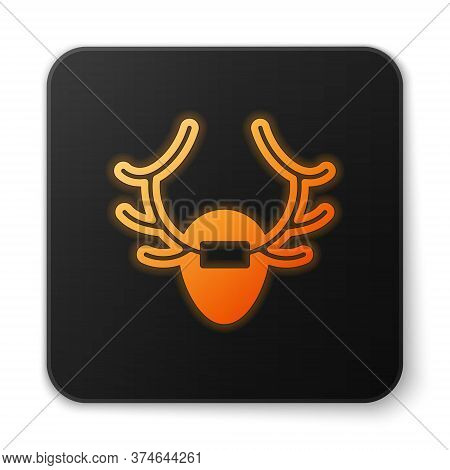 Orange Glowing Neon Deer Antlers On Shield Icon Isolated On White Background. Hunting Trophy On Wall