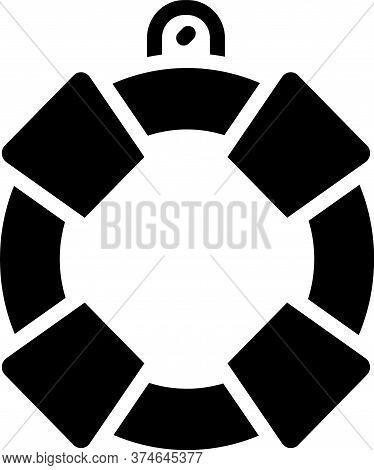 Black Lifebuoy Icon Isolated On White Background. Lifebelt Symbol. Vector