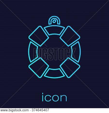 Turquoise Line Lifebuoy Icon Isolated On Blue Background. Lifebelt Symbol. Vector