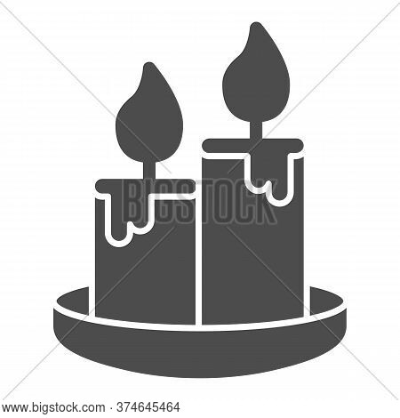 Wax Candles Solid Icon, Honey Concept, Two Burning Candle Sign On White Background, Candles Icon In