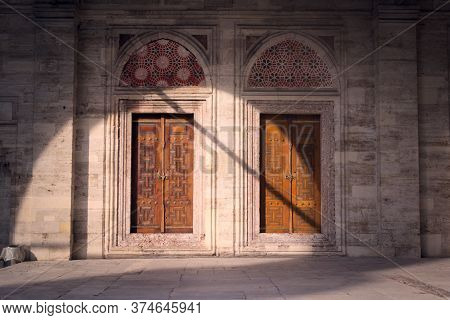 Two Wooden Doors At The Sehzade Mosque In Istanbul, Turkey. Islamic Art Woodwork, Intricate Geometri
