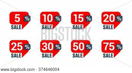 Sale Tag Set In Dialog Box (message Bubble) Form With Arrow Down And Different Percentage - 5, 10, 1