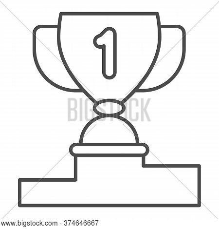 Winner Cup On Pedestal Thin Line Icon, Sport Concept, First Place Trophy Cup Sign On White Backgroun