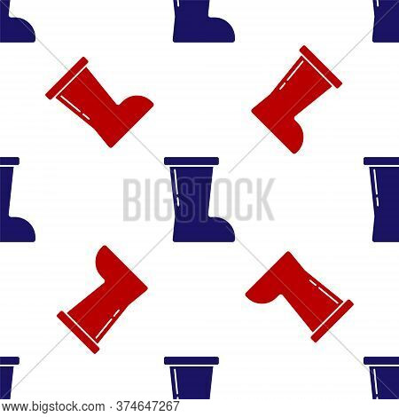 Blue And Red Waterproof Rubber Boot Icon Isolated Seamless Pattern On White Background. Gumboots For