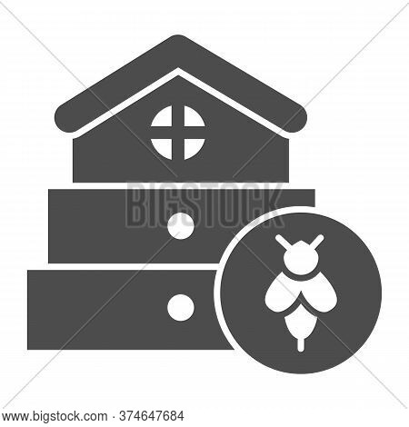 Bee Hive Solid Icon, Beekeeping Concept, Beehive House Sign On White Background, Hive For Bees Icon